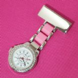 Ladies Nurse Watch, Diamante Pink PERSONALISED ref DPNW